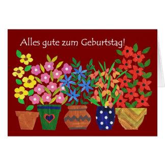 Cartão de aniversário alemão - flower power!