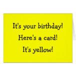 Cartão de aniversário amarelo