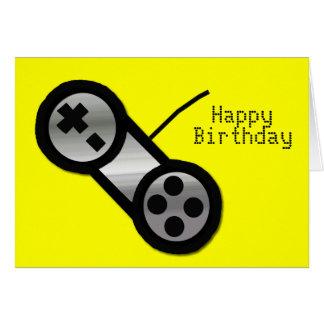 Cartão de aniversário amarelo do jogo de Vidoe