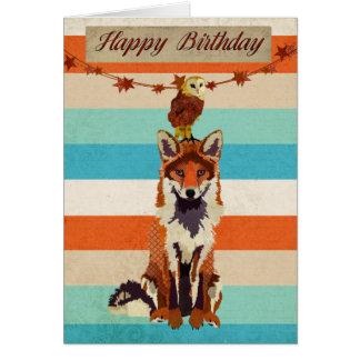 Cartão de aniversário ambarino do Fox & da coruja