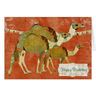 Cartão de aniversário ambarino ornamentado dos cam