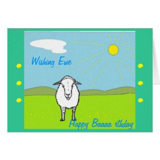 Cartão de aniversário Amusing, com carneiros