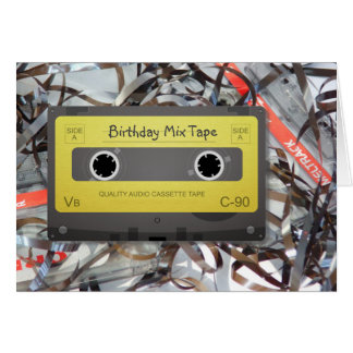 Cartão de aniversário análogo da fita da mistura