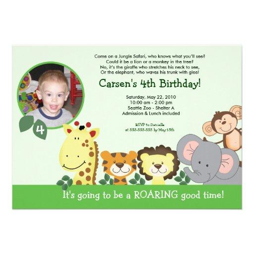 Cartão de aniversário animal da foto do verde do p convite personalizados