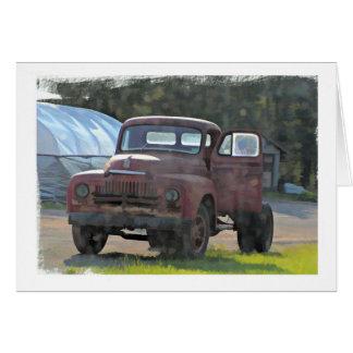 Cartão de aniversário antigo do caminhão