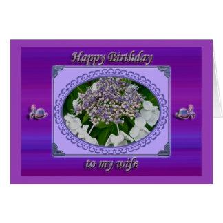 Cartão de aniversário azul da esposa do Hydrangea