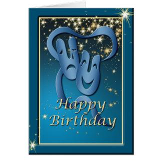 Cartão de aniversário azul da máscara do teatro da