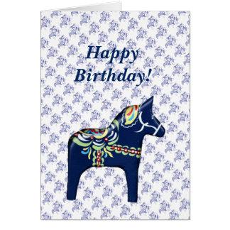 Cartão de aniversário azul do cavalo de Dala