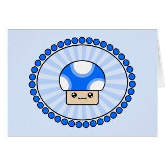 Cartão de aniversário azul do cogumelo de Kawaii