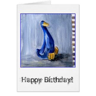 Cartão de aniversário azul do pato