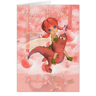 Cartão de aniversário bonito da filha, dragão