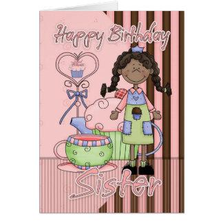 Cartão de aniversário bonito da irmã - cupcakes e