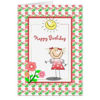 Cartão de aniversário bonito da menina