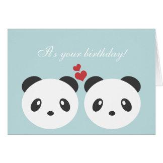 Cartão de aniversário bonito da panda