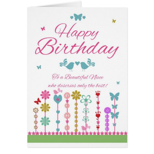 Cartão de aniversário bonito da sobrinha com borbo