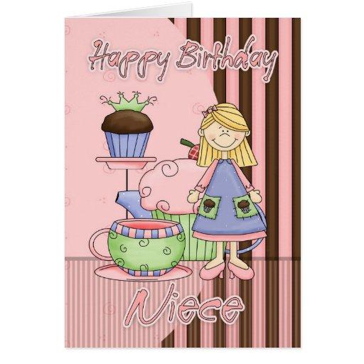 Cartão de aniversário bonito da sobrinha - cupcake