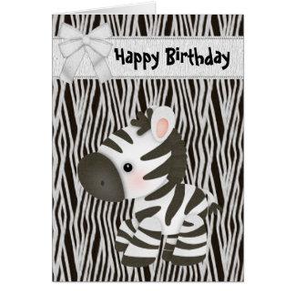 Cartão de aniversário bonito da zebra & do cupcake
