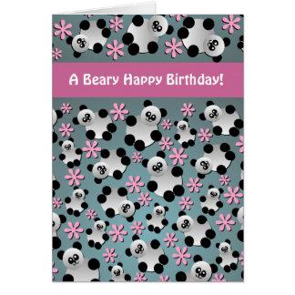 Cartão de aniversário bonito das pandas e das