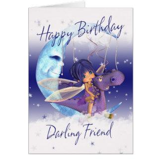 Cartão de aniversário bonito do amigo, dragão roxo