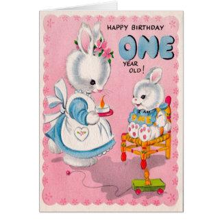 Cartão de aniversário bonito do bebê de um ano