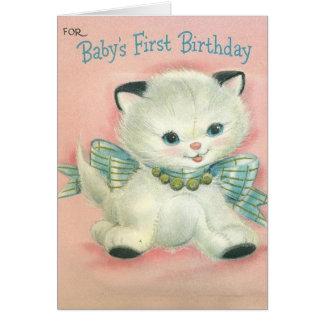 Cartão de aniversário bonito do bebê de um ano do
