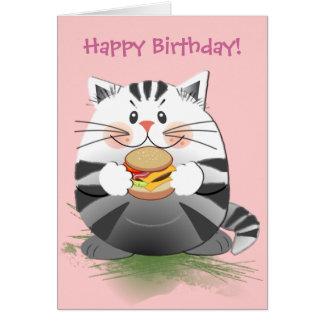 """Cartão de aniversário bonito do """"gato Hamburger """""""