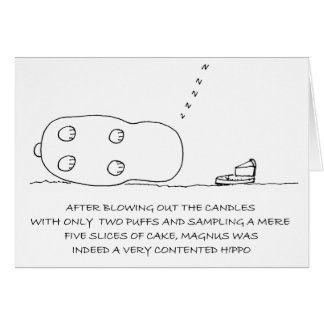 Cartão de aniversário bonito do hipopótamo feliz d