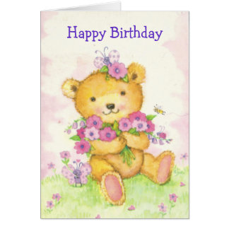 Cartão de aniversário bonito do urso w/butterfy