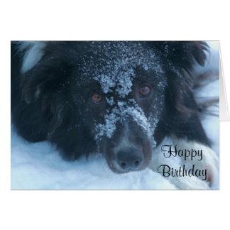 Cartão de aniversário bonito enfrentado nevado de