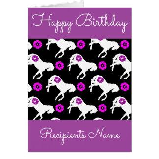 Cartão de aniversário branco dos pôneis - cartão