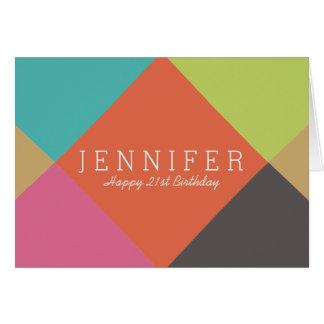 Cartão de aniversário brilhante personalizado dos