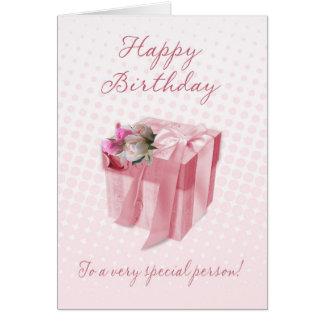 Cartão de aniversário - caixa de presente