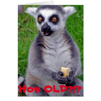 Cartão de aniversário chocado do Lemur