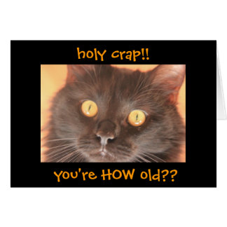 Cartão de aniversário chocado engraçado do gato,