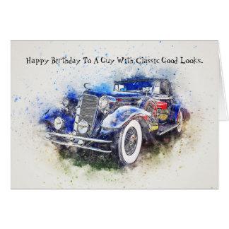 Cartão de aniversário clássico convertível da cara