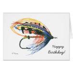 Cartão de aniversário colorido da pesca com mosca