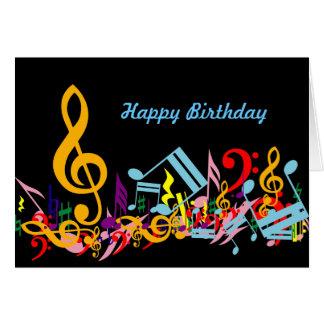 Cartão de aniversário colorido das notas musicais