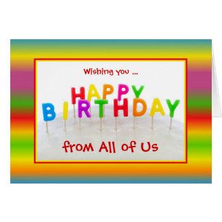 Cartão de aniversário colorido feito sob encomenda