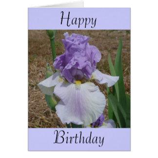 Cartão de aniversário com a íris nele