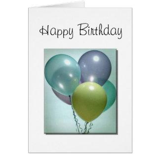 Cartão de aniversário, com balões