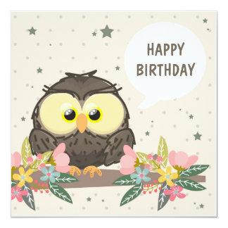 Cartão de aniversário com coruja bonito e a