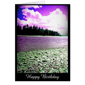 Cartão de aniversário com fotografia do rio (vazio