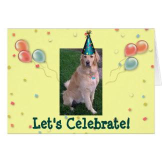 Cartão de aniversário com Jake o golden retriever