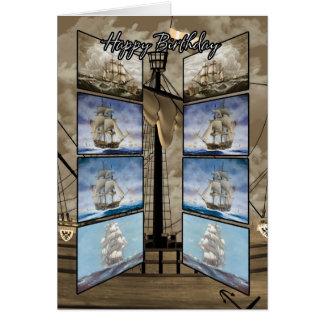 Cartão de aniversário com navios altos, Caravel,
