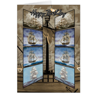 Cartão de aniversário com navios altos, Caravel, S