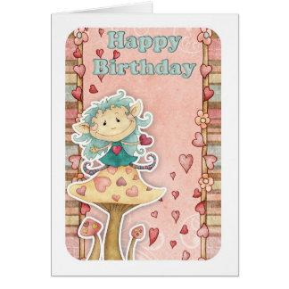 cartão de aniversário com o duende pequeno bonito