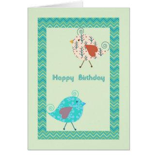 Cartão de aniversário com os pássaros do