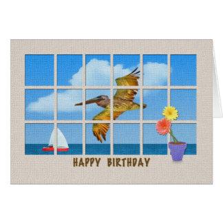 Cartão de aniversário com pelicano e flores de