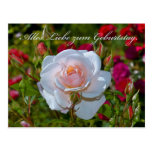Cartão de aniversário com rosas cartao postal