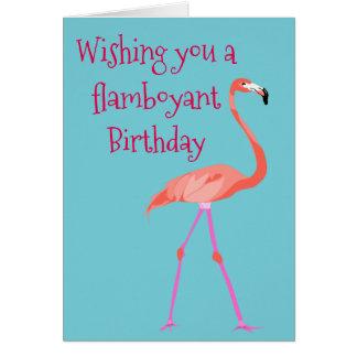 Cartão de aniversário com um flamingo chamativo